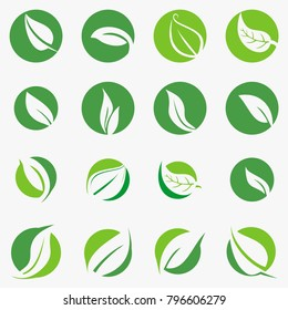 Leaf,plant,logo,ecology,people,wellness,green,leaves,nature symbol icon set of vector designs. Health Logo and vector Template for business.