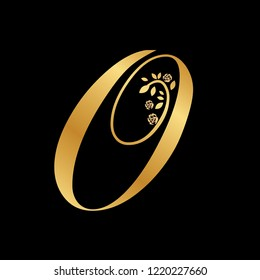 leafs and roses, gold caligraphy letter o