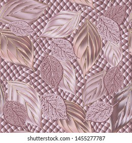 Leafy 3d vector seamless pattern. Textured surface geometric background. Rose gold ornamental repeat design. 3d  flying leaves ornament. Modern design. 3d Wallpaper. Grunge texture. Silk wall paper