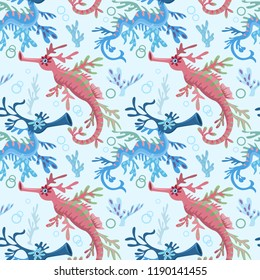 Leafy Sea Dragon seamless pattern.