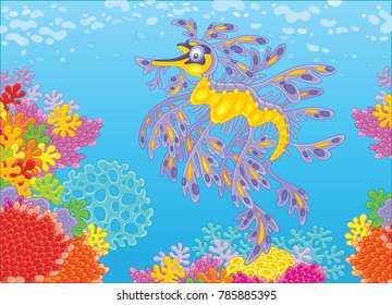 A leafy sea dragon swimming in blue water over a colorful coral reef in a tropical sea, a vector illustration in cartoon style