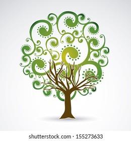 leafy tree over white background vector illustration