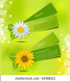 leafy vector label with daisies and sunflowers on a lush green background