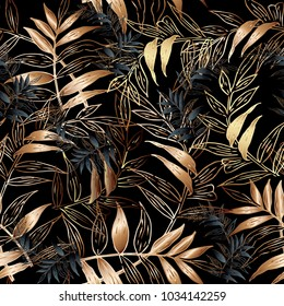 Leafy vector seamless pattern. Floral black background wallpaper with gold autumn leaves, branches, abstract ornaments. Surface modern texture. Ornate luxury design for fabric, textile, prints
