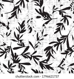 Leafy vector seamless pattern. Floral white  background wallpaper with black autumn leaves, branches, abstract ornaments. Surface modern texture. Ornate luxury design for fabric, textile, prints