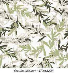 Leafy vector seamless pattern. Floral cream  background wallpaper with lime autumn leaves, branches, abstract ornaments. Surface modern texture. Ornate luxury design for fabric, textile, prints