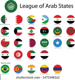 League of Arab States. National flags, round. Abstract concept, icon set.