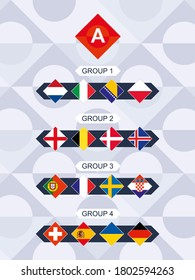 League A Flags of the European Football Competition. National Teams Flags sorted by group.