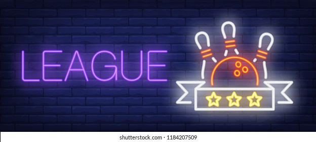 League neon text with ball and skittles. Bowling club and advertisement design. Night bright neon sign, colorful billboard, light banner. Vector illustration in neon style.