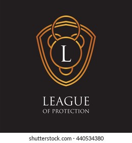 League of protection. Luxury logo, golden shield logo, vector law firm logo template