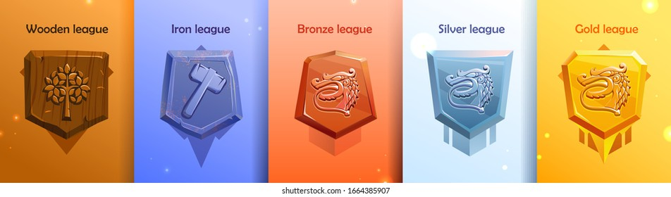 Leagues shields of rating icons for mobile game UI. Victory trophy copcept. Score achievements icons. Golden bronze silver wood iron leagues with dragon. Epic gamer set. Isolated vector illustration