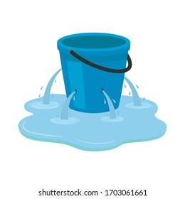 Leaking bucket. Vector illustration isolated on white background.