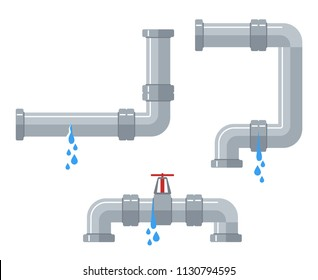 Leaking water pipes. Broken steel and plastic pipeline with leakage, leaking valve, dripping fittings vector set. Plumbing pipeline, pipe leaking broken illustration