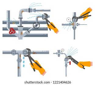 Leaking water pipes and plumbing repairs with an adjustable wrench. Vector flat set isolated on white background.