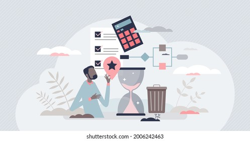 Lean manufacturing cost effective production model tiny person concept. Waste reduction and just in time approach implementation in company management and standards vector illustration. Quality growth