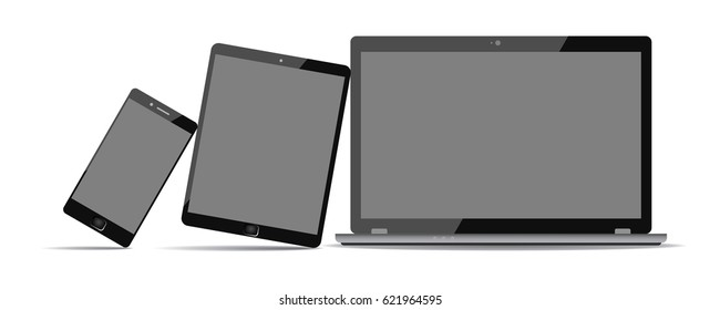 Lean on laptop black technology devices. Devices with black display - for stock