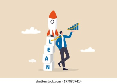 Lean startup using agile methodology to manage company for fast deliver or launch product, businessman showing growth graph leaning on box stack with the word LEAN with ready to rocket ship on top.