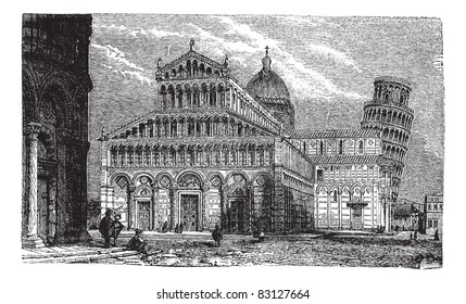 Leaning Tower, cathedral and baptistery of Pisa,vintage engraved illustration.Trousset encyclopedia (1886 - 1891). Trousset encyclopedia (1886 - 1891).