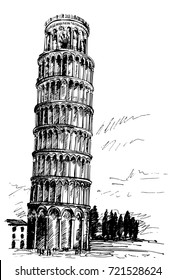 Leaning Tower of Pisa by pen, hand-drawn, the drawing of architecture, antique Rome, Italy.