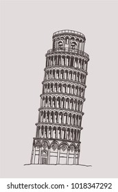 the leaning tower of pisa, graphical hand-painted vintage illustration,vector Italian sightseeing