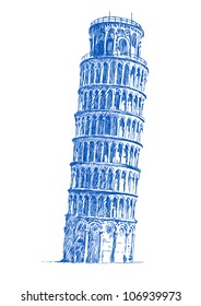 Leaning Tower of Pisa, hand drawing converted to vector