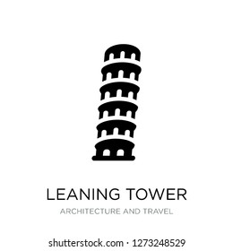 leaning tower of pisa icon vector on white background, leaning tower of pisa trendy filled icons from Architecture and travel collection, leaning tower of pisa simple element illustration