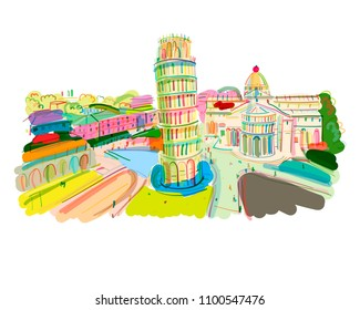 Leaning tower of Pisa, Italy. Sketch for your design
