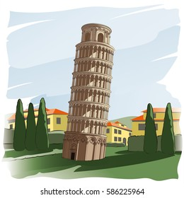 Leaning Tower of Pisa. Landscape. Architectural building, historical monument. Vector illustration. Imitation of watercolor painting.