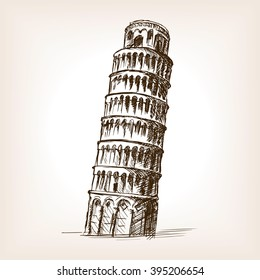 Leaning tower of Pisa sketch style vector illustration. Old engraving imitation.