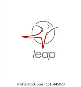 leap logo simple abstract outline stick figure movement vector in circle frame for sport or business graphic design template