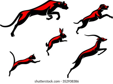 Leaping Animals-Set of simplified illustration of various mammals