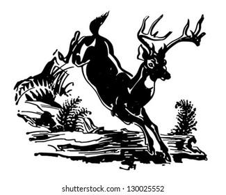 Leaping Deer - Retro Clip Art Illustration