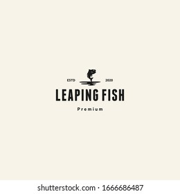 leaping fish - fishing logo template vector. retro logotype.