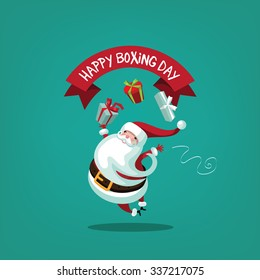 Leaping Santa wishing you a happy Boxing Day. EPS 10 vector illustration Christmas greeting card design.