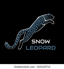 leaping snow leopard logo sign emblem vector illustration on black background