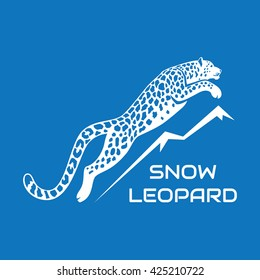 leaping snow leopard logo sign emblem vector illustration on blue background