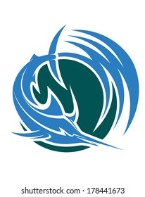 Leaping swordfish or marlin icon depicting deep-sea sport or game fishing logo with swirling blue and green water