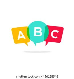 Learn ABC letters vector icon, child speaking conversation logo concept, language school badge isolated on white background, bubble speeches with three alphabet letters