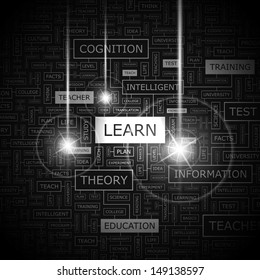 LEARN. Background concept wordcloud illustration. Print concept word cloud. Graphic collage with related tags and terms. Vector illustration.