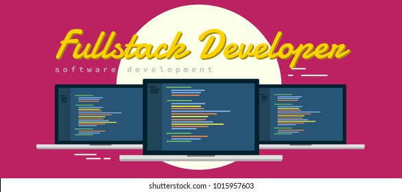 Learn to be Full-Stack Web Developer , someone who is able to work on both the front-end and back-end portions of an application. illustration laptop with syntax code flat vector illustration.
