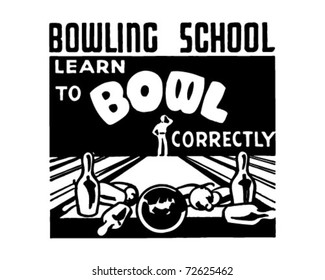 Learn To Bowl - Retro Ad Art Banner