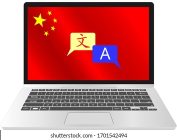 Learn Chinese language online Education on laptop, online e-learning computer software laptop desk through internet at home, China Flag, Chinese character and A english character translation.