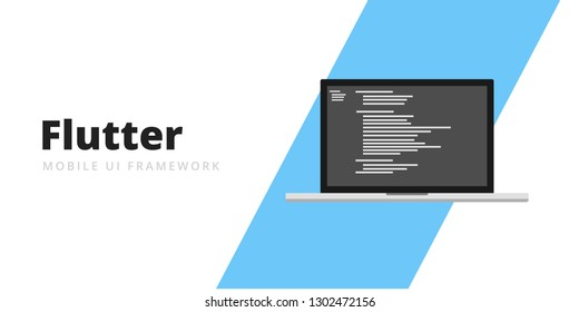 Learn to code Flutter Mobile UI Framework with script code on laptop screen, programming language code illustration - Vector