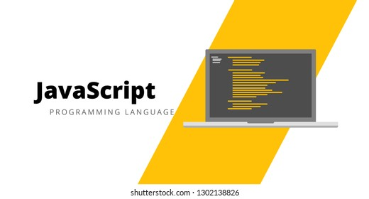 Learn to code Javascript Programming language, illustration Javascript programming language with script code on laptop screen, programming language code illustration - Vector