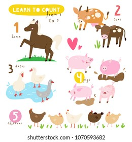 Learn to Count from 1 to 5 illustrated poster. Educational set of cute Farm Animals. Cute vector collection with Horse, Cow, Duck, Pig and Chicken. Learn number and counting with kids.