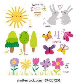 学会从 1 到 5 图示海报数。 可爱的矢量集合与太阳,兔子,树,蝴蝶,花。 学习数字和计数与孩子。 教育性说明。