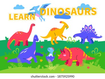 Learn dinosaurs - colorful flat design style poster. Prehistoric times. An illustration with ornitosaurus, parasaurolophus, stegosaur, diplodocus and brachiosaurus walking in the field chewing grass