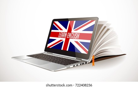 Learn english concept - laptop and book compilation - elearning language