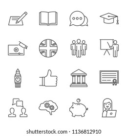 Learn English courses set of vector icons outline style