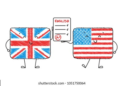 Learn English . Cute characters in the form of American and British flag hold a test in English. Vector illustration